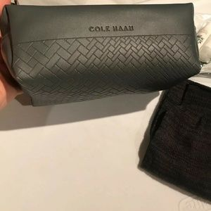 Cole Haan Gray Leather Like Travel Cosmetic Kit